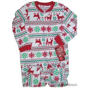 Christmas Pajamas Boys Girls Footie Fleece Warm